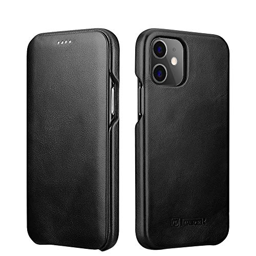 ICARER Compatible with iPhone 12 Mini Leather Case,Genuine Leather Flip Folio Opening Cover in Curved Edge Design, Slim Thin Side Open Case Compatible for iPhone 12 Mini 5.4 Inch (Black)