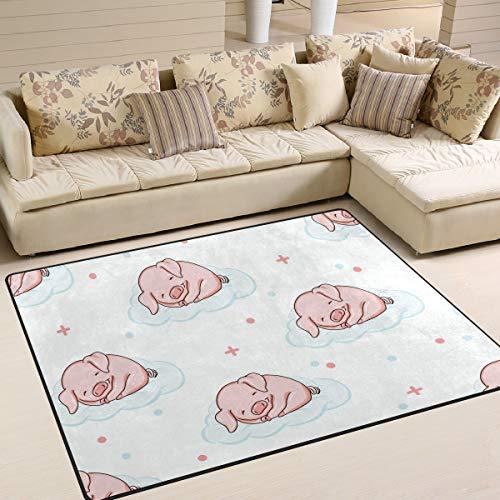 ALINLO - Alfombra antideslizante con patrón de cerdo, para interior y exterior, para decoración del hogar, 4 pies x 5 pies
