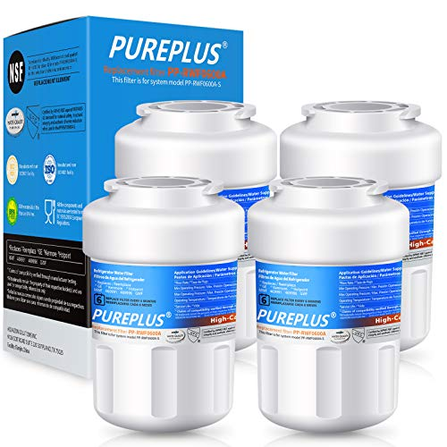 PUREPLUS MWF Water Filter Replacement for GE SmartWater, HDX FMG-1, MWFP, MWFA, PL-100, WFC1201, RWF0600A, PC75009, RWF1060, 197D6321P006, GSE25GSHECSS, Kenmore 469991 Refrigerator Cartridge, 4Pack