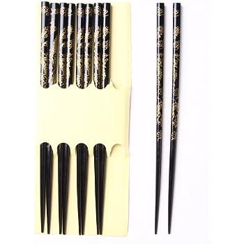 Baguettes en Bambou dans Une Belle bo/îte Cadeau en Carton Noir H2-S5C-BB-01 Quantum Abacus Set de 5 Paires de Baguettes Chinoises Dragons Tricolor