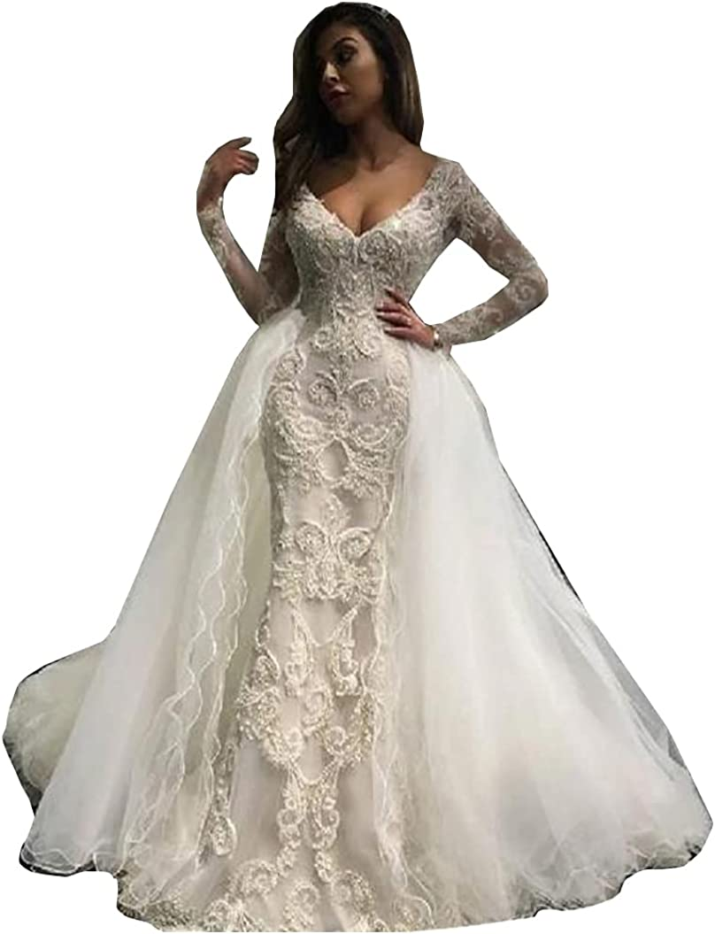 Long Sleeves Bridal Gowns with Detachable Train Lace Corset Sequins Mermaid Wedding Dresses for Bride