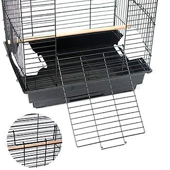 Cage à Oiseaux, Cage en métal pour Animal de Compagnie avec Plateau de Jeu Ouvert et Jouets, 46 x 36 x 70 cm, Noir