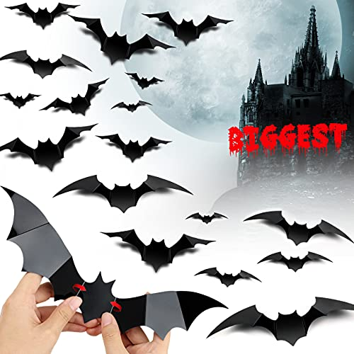Halloween Decorations Largest 3D Bats 60PCS, Bat Halloween Decoration Indoor Outdoor Halloween Decor for Bathroom Room Door Window Wall Kitchen Bat Stickers for Halloween Bachelor party and Kids Party