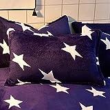 HOHH - Funda de edredón de forro polar para cama individual, diseño de estrellas, color azul y blanco, 150 x 200 cm, 1 par