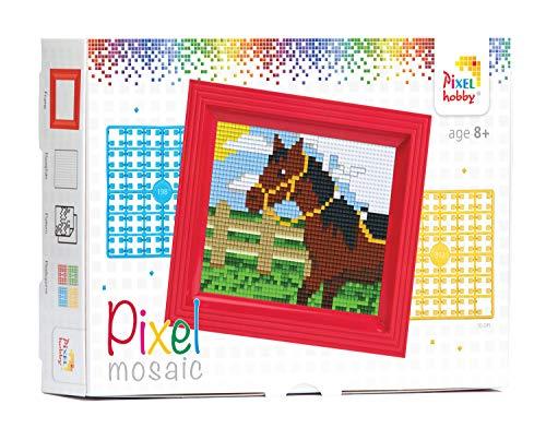 Pracht Creatives Hobby P31250 - Pixel Mosaik Geschenkverpackung Pferd, Pixelbild mit Rahmen zum Gestalten für Kinder, Jungen und Mädchen, als kleines Geschenk, Mitgebsel, für den Kindergeburtstag