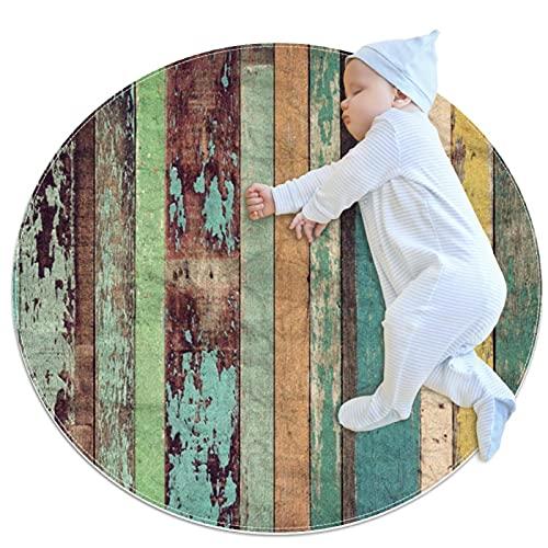 Alfombra de Juego para bebé, Alfombra Redonda para Gatear Alfombra para Ejercicios de Yoga Alfombra de meditación Patrón de tablones de Madera Vintage