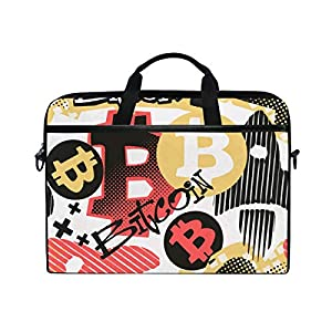 VICAFUCI Nuevo Bolso para portátil de 15-15.4 Pulgadas,Bitcoin Doodle Style