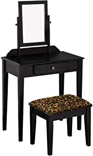 The Furniture Cove Wood Vanity Make-Up Table with Mirror in a Black Finish with Your Choice of an Animal Print Fabric Covered Bench Cushion - FREE Handheld Mirror Included (Leopard Large Cotton)