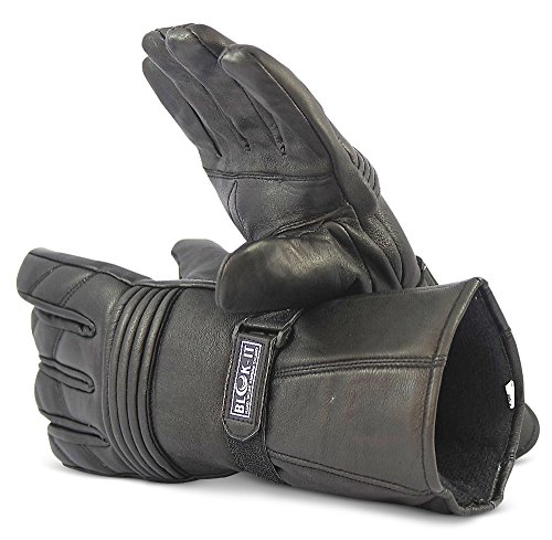Blok-IT Leather Motorcycle Gloves. Motorbike Gloves. Windproof & Waterproof Biker Gloves, Gauntlet Motorcycle Gloves for Men & Women. Ultra Durable Thinsulate Cold Weather Motorcycle Gloves (Small)