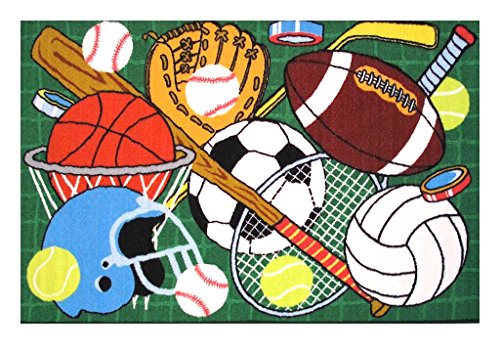 Sports Themed Children and Kids Living Space Accent Area Rug With Latex Backing Featuring Basketball Football, Baseball, Soccer, Tennis, Volleyball, and Hockey Imagery- FT-124 - 39