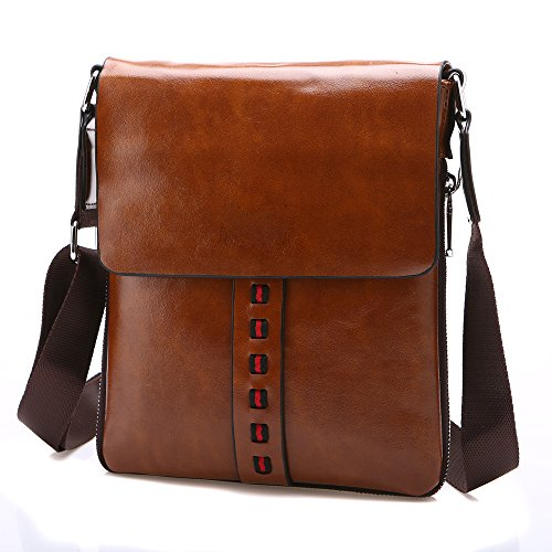 Vintage Pu Leather Messenger Bags Crossbody Men Casual Shoulder Bag (Brown)