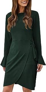 GHrcvdhw Women Casual Plain Bell Sleeve Dress Sexy Back Cutout Ruffle Decor Elegant Irregular Hem Mini Work Dress