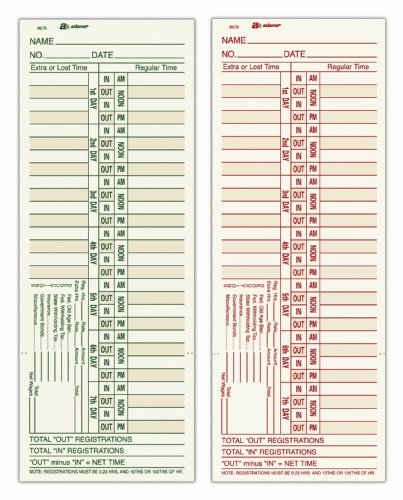 """Adams Time Cards, Bi-Weekly, 2-Sided, Overtime Format, 3-3/8"""" x 9"""", Manila, Green/Red Print, 200-Count (9675-200)"""