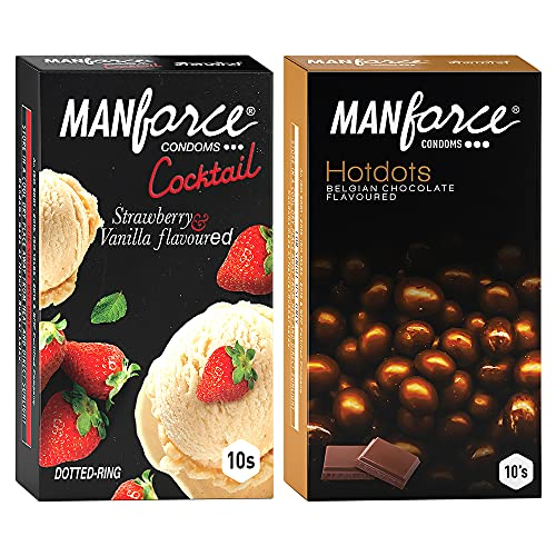 Manforce Premium Condoms (Hotdots Belgian Chocolate with Bigger Dots & Cocktail Strawberry+Vanilla with Dotted Rings) Combo – 10s (Pack of 2)
