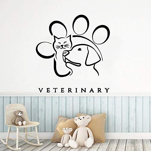 ganlanshu Schöne Katzen und Hunde Tapete Familie Dekoration Wandaufkleber, Kinderzimmer Kunst Aufkleber 28cmx29cm