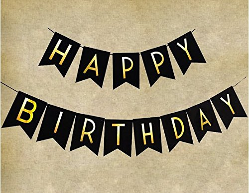 JoyAcc 2.5M Happy Birthday Banner, Perfect Birthday Decoration and Party Supplies - Black & Gold Lette