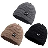 Simple Knitted Baby Beanie Hip-Hop Boys Winter Hat Toddler Kids Bonnet for Girls 0-5Y (Black+Khaki+Gray,L)