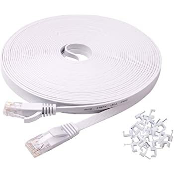 Amazon Com Ercielook Ethernet Cable 100 Ft High Speed Cat 6 Flat Network Cable With Rj45 Connectors Long Lan Cable With Clips White 30 M Computers Accessories