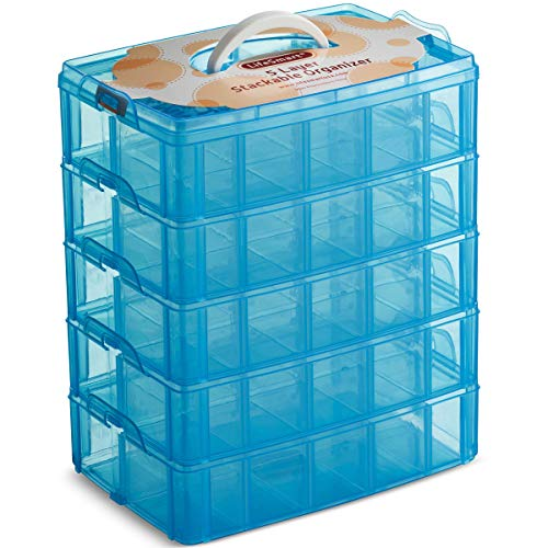 LifeSmart USA Stackable Storage Container Blue 50 Adjustable Compartments Compatible with Lego Dimensions Shopkins Littlest Pet Shop Arts and Crafts and More (Standard 5 Tier)