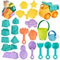 23pcs Beach Sand Toy Set Include Bucket, Sandbox Vehicle, Watering Can, Shovel Tool Kits,Sand Castle?Sand Molds, Outdoor Beach Sandbox Toys for Boys, Girls,Toddlers, Kids
