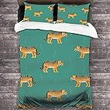 Juego de ropa de cama de 3 piezas de 2016 x 180 cm, diseño de Tigers en azul, con 2 fundas de cojín clásicas para habitación de invitados de mujer