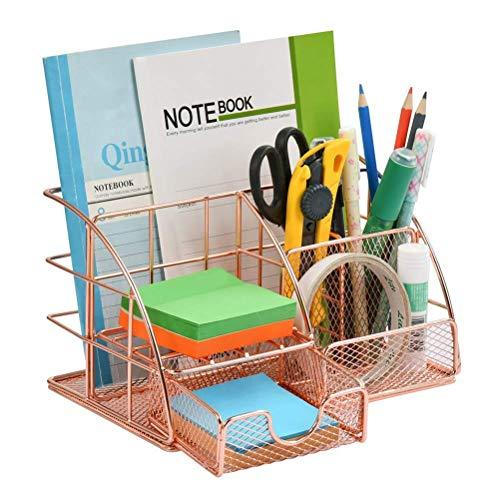 OFNMY Organizador de escritorio con cajón | Organizador de oficina de metal para archivos, accesorios de escritorio decorativos | Organizador de escritorio de oro rosa (con clips gratis en caja)