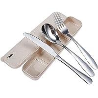 lictin set posate monoblocco posate in acciaio inossidabile da campeggio con custodia in neoprene- 1 x forchetta, 1 x coltelli, 1 x cucchiai cena