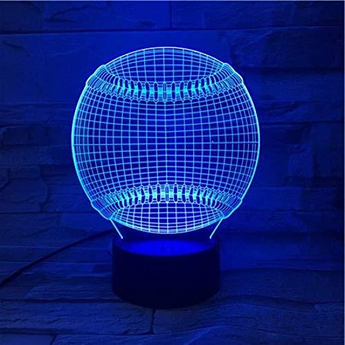 Illusion 3D Sport balle de tennis Lampe LED tactile multi-couleur Chambre capteur de chevet Bureau décoratif Lampe Kids Festival cadeaux d'anniversaire de charge USB lumière de nuit
