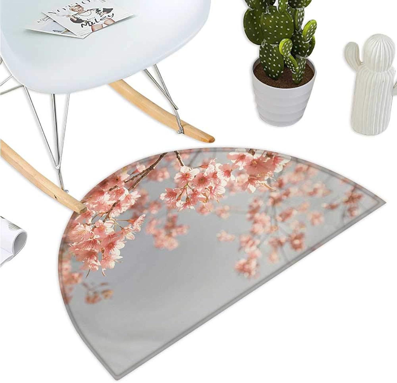Peach Semicircular Cushion Japanese Scenery Sakura Tree Cherry Blossom Nature Photography Coming of Spring Entry Door Mat H 39.3  xD 59  blueegrey Coral