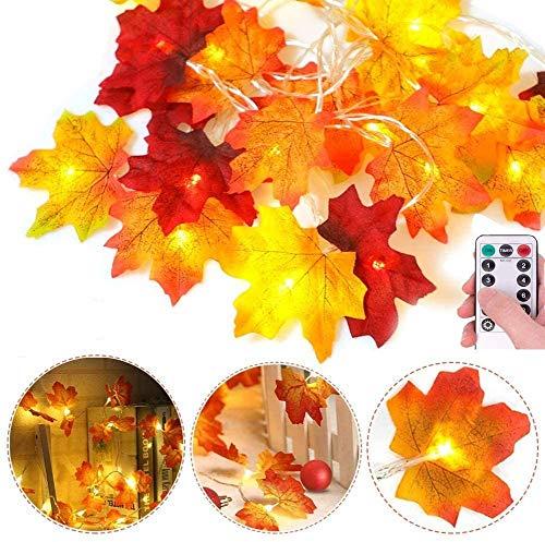 Ahornblätter Lichterketten,3M 30LED Herbst Blättergirlande 8 Modis (mit Fernbedienung) IP44 Batteriebetrieben, Herbst Ahornblatt Deko für Hochzeiten, Thanksgiving und Außen Zuhause Herbstparty