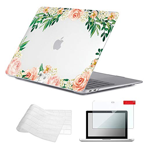 Se7enline A1932/A2337/A2179 MacBook Air 13 inch Case 2020/2019/2018 Clear Crystal Laptop Covers Hard Shell Case for MacBook Air with Touch ID with TPU Keyboard Cover,Screen Protector, Rose Flowers