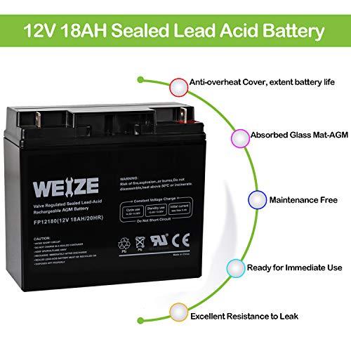 Weize 12V 18AH Battery Sealed Lead Acid Rechargeable SLA AGM Batteries Replaces UB12180 FM12180 6fm18, Universal