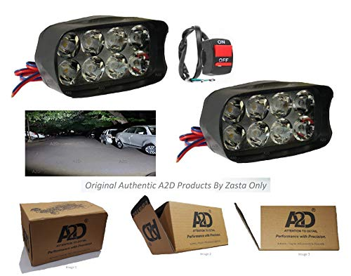 A2D Combo Of 8-LED BAR Cree Aux Bright LED Bike Fog Lamp Light Set Of 2 With Handle Mounting Switch-White