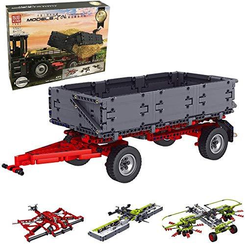 KEAYO Technik Traktor Anhänger, Mould King 17021, 4-in-1 Traktor Anhänger Modell Groß Klemmbausteine Bausatz Kompatibel mit Mould King 17020 & 17019