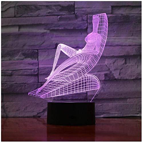 7 Farbe Nachtlicht, Strandkorb Schönheit 3D Nachtlicht Tischlampe Künstler Dekoration Kind Schlaf Licht Valentinstag Geschenk