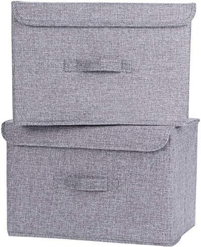 OJ Lote de 2 cajas de almacenamiento, almacenamiento de ropa, plegable en tela de lino con tapas y manijas para el hogar, la oficina, la guardería, el armario, el dormitorio (gris)