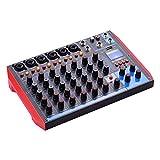 ammoon Consola de mezcla Consola de mezcla portátil de 8 canales Mezclador de audio digital +48V...
