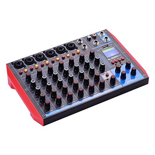 ammoon Mischpult, tragbar, 8 Kanäle, digitaler Audio-Mixer + 48 V Phantomspeisung, unterstützt BT/USB/MP3-Verbindung für Musikaufnahmen, DJ-Netzwerk, Live-Übertragung, Karaoke