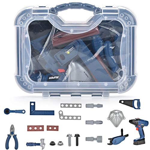 spier Kids Tool Set, Drill Toy Tool Set 20PCS Maintenance Tools with Tool Box Play Tools Accessories