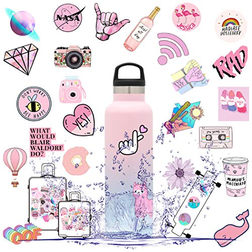Stickers for Water Bottles, Stickers for Hydroflask Pink, Cute Vsco Stickers 53Pcs, Waterproof Vinyl Laptop Decal Stickers Pack for Teens, Computer, Hydro Flask, Travel Case (Pink Lady)