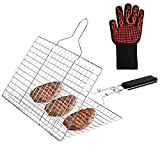 BBQ Grilling Basket, Stainless Steel Fish Grill Baskets with Removable Wooden Handle abd Gloves, Portable BBQ Basket for Chicken, Shrimp, Vegetables, BBQ Grill Accessories For Outdoor Camping Cooking