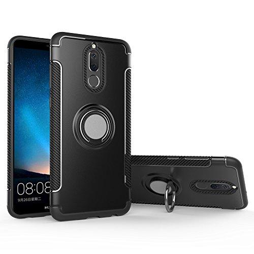 BLUGUL Huawei Mate 10 Lite Hülle, 360 Grad Drehender Ring-Griff, Kompatibel mit Magnet Auto Halterung, Schutzhülle Handyhülle Case Cover für Huawei Mate 10 Lite Schwarz
