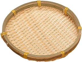 Hemoton Cesta de Bambu Natural Feita à Mão Em Vime Redondo de Vime Bandeja para Servir Lanche Cestas de Pão para Café da M...