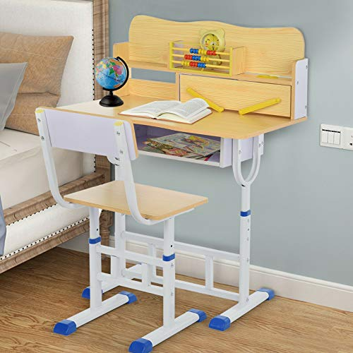 Yeer Kids Desk And Chair Set Height Adjustable Ergonomic Study School Writing Desk (Color : Yellow)