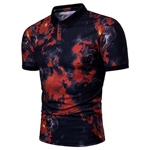 Fashion Herren Sommerbluse VENMO Lässiges Revers-Polohemd Drucken Neck Pullover Shirt Top T-Shirt Modernes Kurzarm-Shirt Top Sweatshirt Stehkragen Hoodie Sweater Basic Vintage Slim Fit (Rot, XXXL)