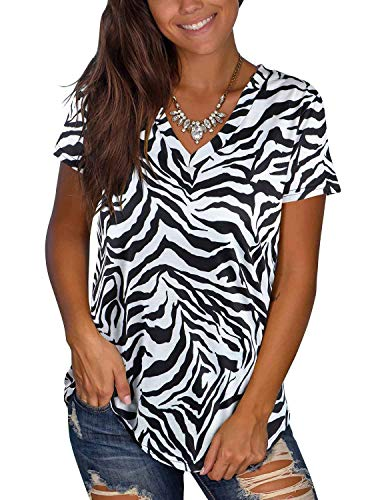 Women's Casual Summer Short Sleeve V Neck Animal Print Loose Tops Basic Tee Shirts(Zebra Print,Medium)
