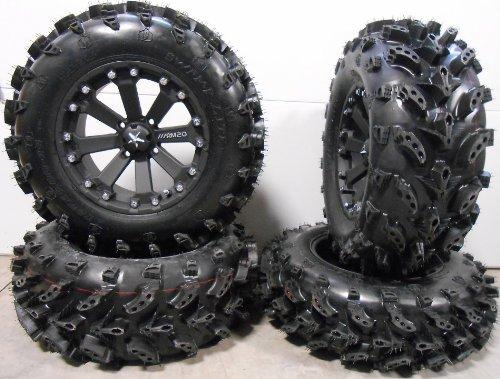 Bundle - 9 Items: MSA Black Kore 14' ATV Wheels 27' Swamp Lite Tires [4x137 Bolt Pattern 10mmx1.25 Lug Kit]