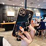 iPhone 7/8 / SE 2020-4.7' Bling Plating Case with Love Heart Chain Bracelet Strap Shiny Cute Lovely Protective Case Cover for Women Grils Ladies (Black,iPhone 7 / iPhone 8 / iPhone SE 2020)