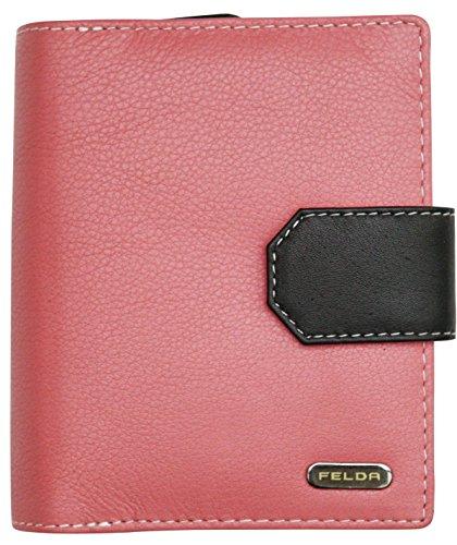Felda - Damen Geldbörse aus Echtleder - RFID-Blocker - 14 Kartenfächer & Münzfach - Pfirsich Mehrfarbig