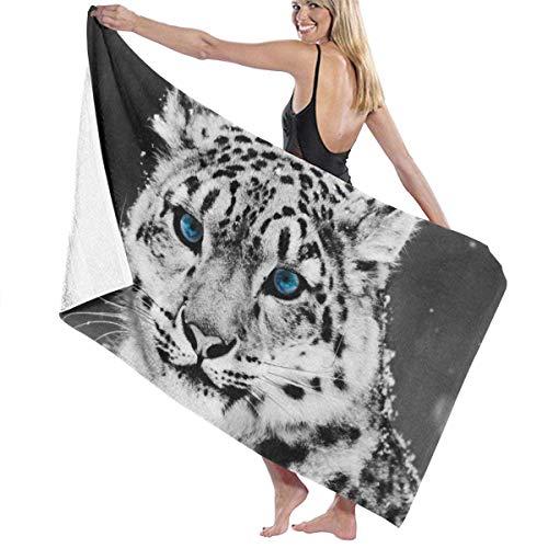 Olie Cam Toalla de baño Snow Leopard Toallas de Secado rápido absorbentes Suaves para Viajes Deportivos Baño de Piscina, 130 cm × 80 cm